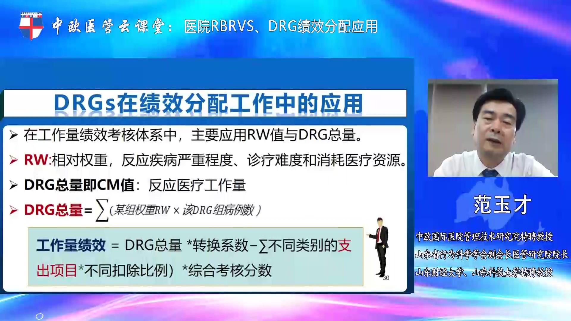 医院RBRVS、DRG绩效分配应用-范玉才